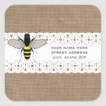 Burlap & Lace Inspired Honey Bee Address Square Sticker