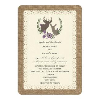 Burlap + Lace Inspired Purple Floral Buck + Doe 5x7 Paper Invitation Card