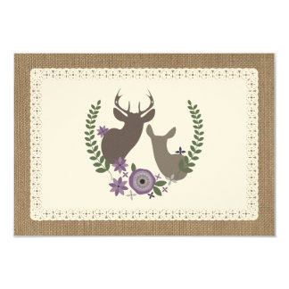 Burlap & Lace Inspired Purple Wreath Monogram RSVP 3.5x5 Paper Invitation Card