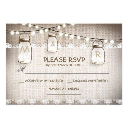 burlap lace lights & mason jar wedding RSVP card