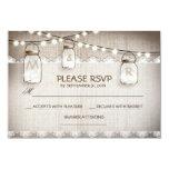 "burlap lace lights & mason jar wedding RSVP card 3.5"" X 5"" Invitation Card"