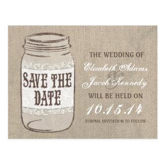 Burlap Lace Mason Jar Save the Date Post Card