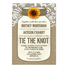Burlap Lace Mason Jar Wedding Invitations