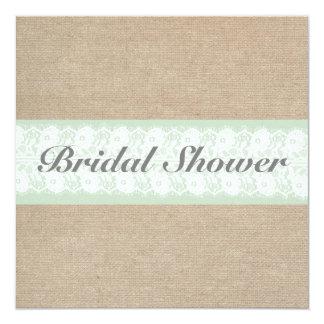 Burlap & Lace Mint Customizable Bridal Shower Card