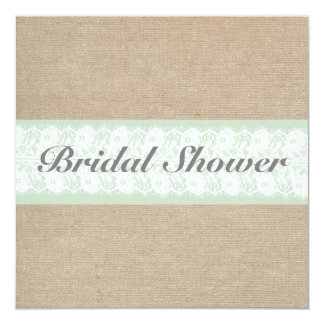Burlap & Lace Mint Customizable Bridal Shower Invitation