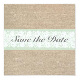 Burlap & Lace Mint Customizable Save The Date Card