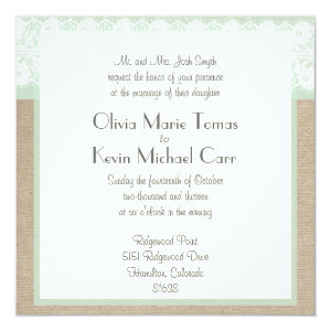 Burlap & Lace Mint Customizable Wedding Invitation 5.25