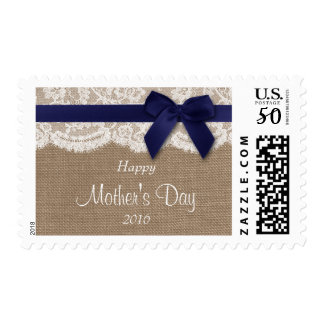Burlap, Lace & Navy Bow Happy Mother's Day Postage