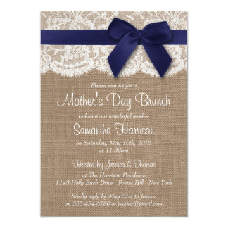 Burlap, Lace & Navy Bow Mother's Day Brunch Card