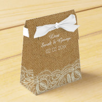 burlap  lace personalized wedding favor boxes