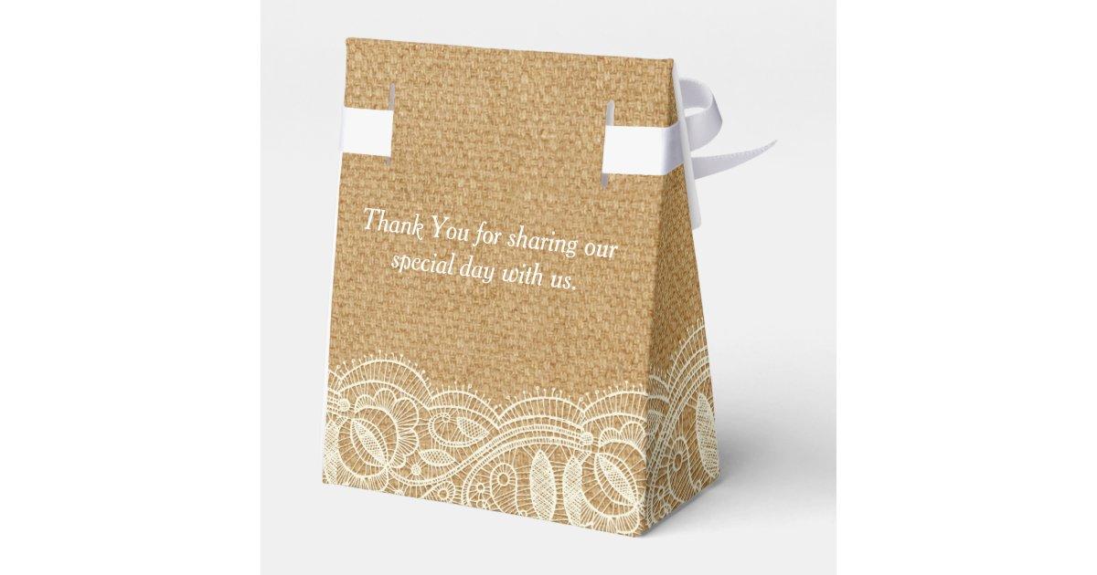 Burlap Lace Personalized Wedding Favor Boxes