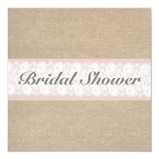 Burlap & Lace Pink Customizable Bridal Shower Card