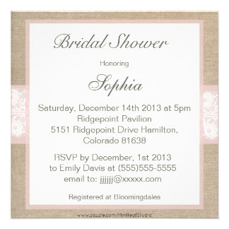 Burlap Lace Pink Customizable Bridal Shower Invitations
