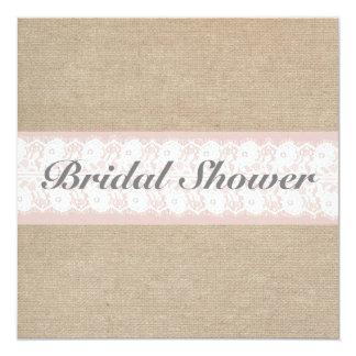 Burlap & Lace Pink Customizable Bridal Shower 5.25x5.25 Square Paper Invitation Card