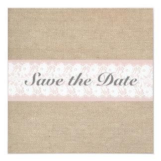Burlap & Lace Pink Customizable Save The Date Card