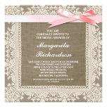 burlap lace & pink ribbon bridal shower invites