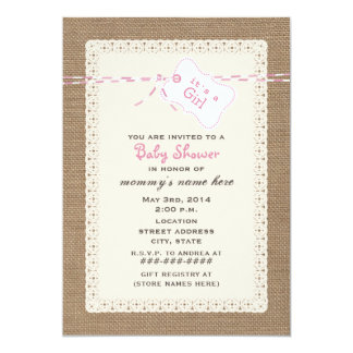 "Burlap Lace & Pink Twine Inspired Baby Shower 5"" X 7"" Invitation Card"