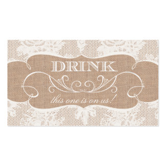 Burlap & Lace Print Wedding Drink Ticket Double-Sided Standard Business Cards (Pack Of 100)