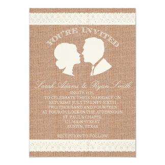 Burlap & Lace Print Wedding Invitation