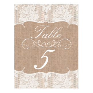 Burlap & Lace Print Wedding Table Number Cards Postcards