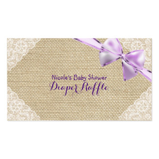 Burlap & Lace Purple Bow Baby Shower Diaper Raffle Business Card
