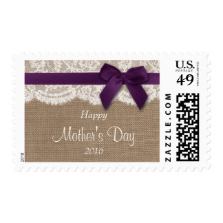 Burlap, Lace & Purple Bow Happy Mother's Day Postage