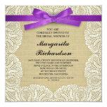 burlap lace & purple ribbon bridal shower invites