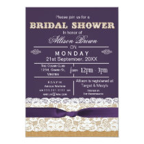 Burlap , lace,purple rustic bridal shower Invites