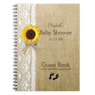 Burlap Lace Raffia Sunflower Image Guest Book