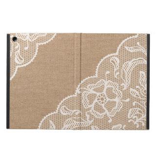 Burlap Lace Rustic Vintage Primitive Design iPad Air Covers