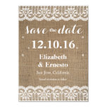 Burlap Lace Rustic Wedding Save the Dates 4.5x6.25 Card