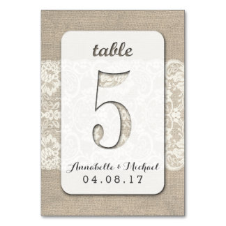 Burlap Lace Rustic Wedding Table Number Card 5