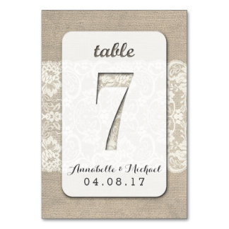 Burlap Lace Rustic Wedding Table Number Card 7 Table Card