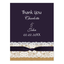 burlap lace, rustic wedding Thank You Postcard