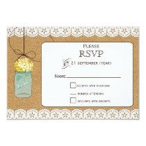 Burlap Lace Rustic yellow hydrangea mason jar rsvp Card