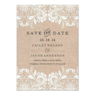 "Burlap & Lace Save The Date Card 4.5"" X 6.25"" Invitation Card"