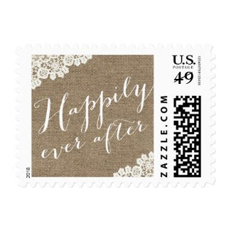 Burlap & Lace Script Happily Ever After Wedding Postage Stamps