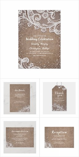 Burlap Lace Silver Glitter Rustic Country Wedding