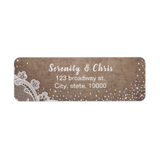Burlap Lace silver glitter rustic country Wedding Label