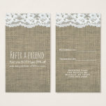 Burlap & Lace Simple Rustic Elegant Refer a Friend Business Card