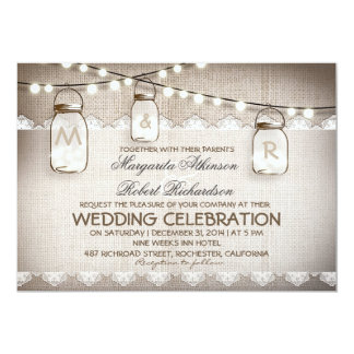 burlap lace string lights and mason jars wedding 5x7 paper invitation card