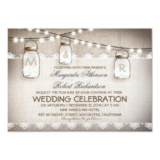 burlap lace string lights and mason jars wedding card