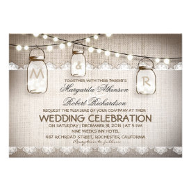 burlap lace string lights and mason jars wedding custom announcements
