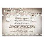 "burlap lace string lights and mason jars wedding 5"" x 7"" invitation card"