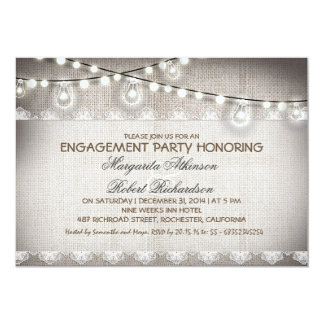 burlap lace string lights bulbs engagement party card