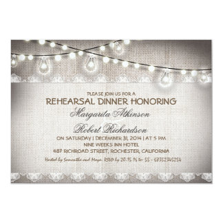 burlap lace string lights bulbs rehearsal dinner card