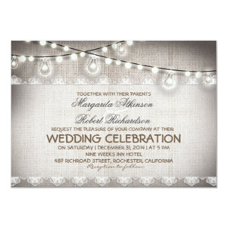 burlap lace string lights & light bulbs wedding card
