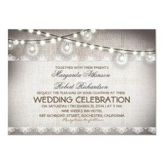 "burlap lace string lights & light bulbs wedding 5"" x 7"" invitation card"