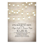 burlap lace string lights rustic engagement party 5x7 paper invitation card