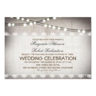 burlap lace string lights rustic wedding invitatio card